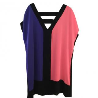Milly Colourblock Cut-Out Silk Dress