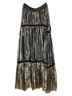 Peter Pilotto gold chiffon maxi skirt