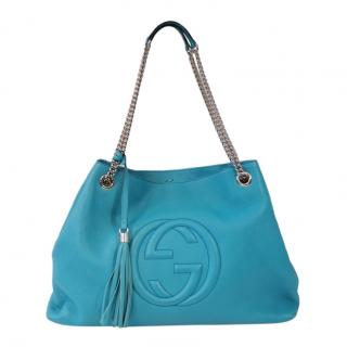 Gucci Blue Leather Soho Large Tote