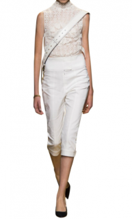 Dior iconic white stretch leather capri pants