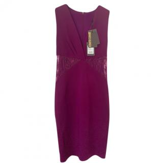 Roberto Cavalli magenta lace inserts  fitted dress