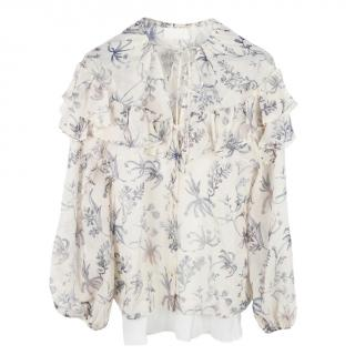 Peter Pilotto Wildflower Ruffled Long Sleeve Blouse