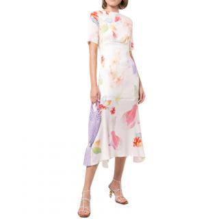 Peter Pilotto Ivory Silk Floral Midi Dress