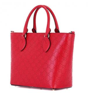 Gucci Red Leather Guccissima Tote Bag