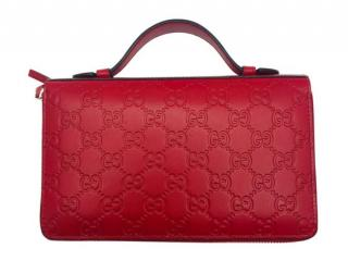 Gucci Red Leather Guccissima Travel Wallet
