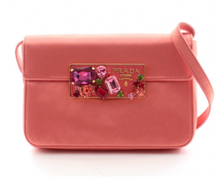 Prada Pink Satin Crystal Embellished Crossbody Bag