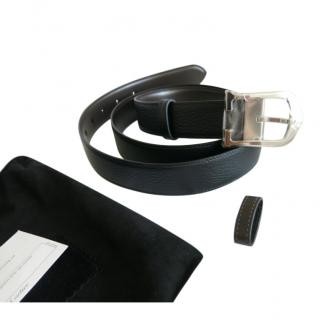 Cartier reversible silver metal and leather belt