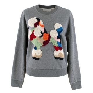 3.1 Phillip Lim grey poodle embroidered cropped sweatshirt
