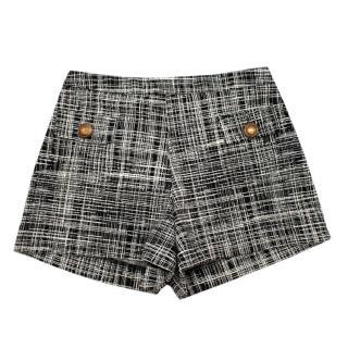 Boutique Moschino Black & White Tweed Printed Shorts
