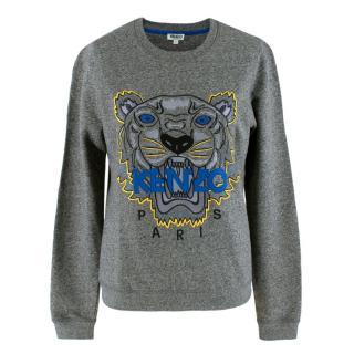 Kenzo Grey Tiger Embroidered Jumper