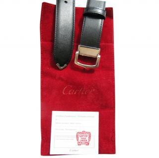Cartier classic C black leather + silvertone metal belt