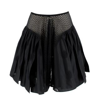 Alaia Crochet Detailed Pleated Full Mini Skirt
