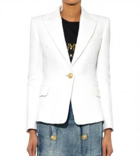 Balmain white single-breasted jacquard blazer jacket
