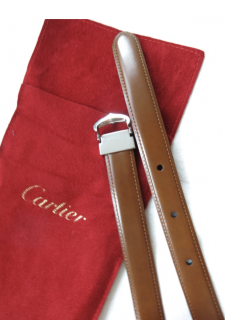 Cartier Brown Leather Belt with Palladium C Buckle