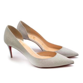Christian Louboutin Iriza 70 Silver Glittered Pumps