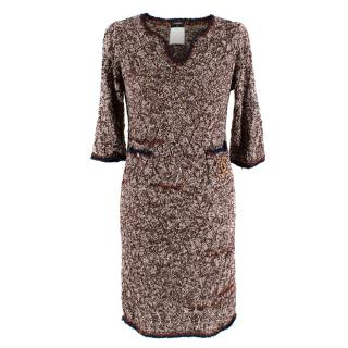 Chanel Brown Tweed Boucle Knit Lightweight Dress