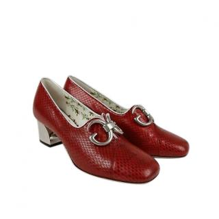 Gucci Red Watersnake Mirror G Pumps