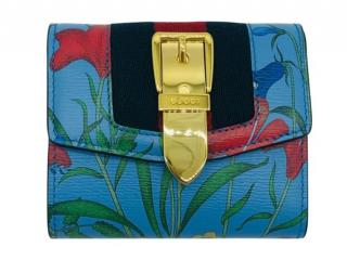 Gucci Sylvie floral blue small wallet