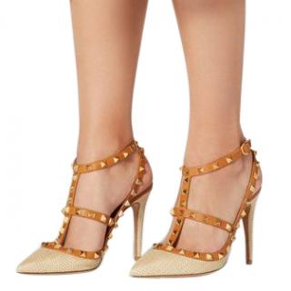 Valentino Rockstud Raffia Pump With Straps 100mm - New Season