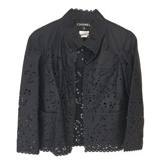 Chanel laser-cut navy leather jacket