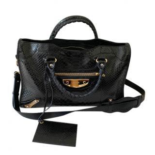 Balenciaga black python city bag