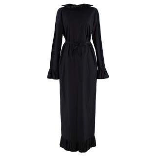 Nina Donis Black Pleated Trim Fitted Long Dress