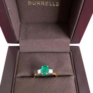 Bespoke 18ct Yellow Gold Diamond & Emerald Ring