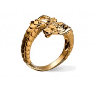Carrera Y Carrera 18kt Yellow Gold Double Head Dragon Ring - Size 58eu