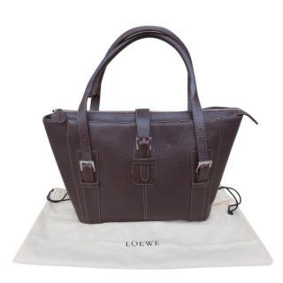 Loewe dark brown leather buckle tote bag