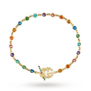 Gucci Running G 18ct Yellow Gold Multi Stone Bracelet