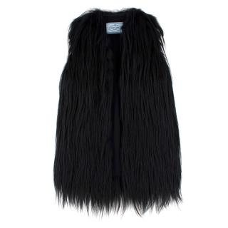 Prada Black Sleeveless Goat & Fox Fur Jacket