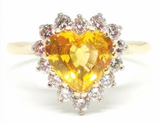 Bespoke diamond and yellow sapphire cluster ring