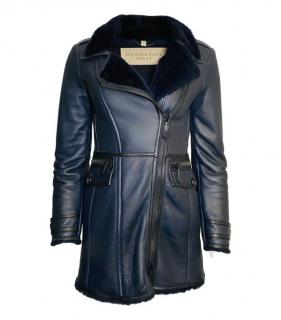 Burberry Brit black leather shearling coat
