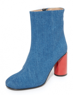 Acne Studios Althea Denim Red  Round Heel Boots