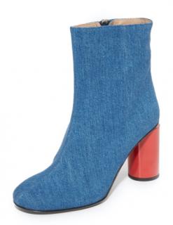 Acne Studios Althea Denim Red  Round Heel Boots