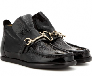 Acne Studios Black Kerin Patent-Leather Ankle Boots
