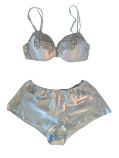 Christies Blue Silk Luna Bra & Shorts