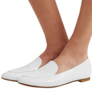 Aquazzura Purist Croc-effect White Leather Loafers