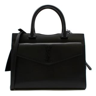 Saint Laurent Black Grained Leather Medium Uptown Bag