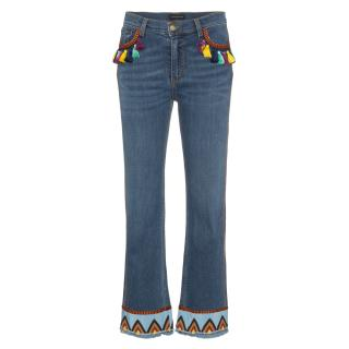 Etro Embellished Ankle Crop Jeans