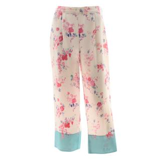 Vilshenko Floral Print Silk Pants