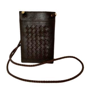 Bottega Veneta Brown Intrecciato Iphone Wallet