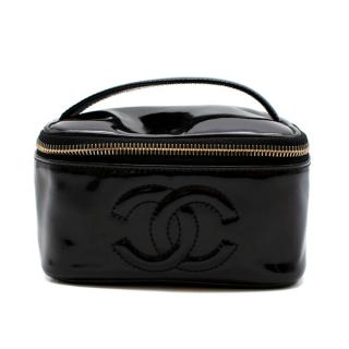 Chanel Patent Vanity Cosmetic Case in Black
