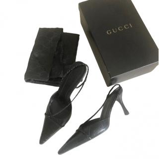 Gucci by Tom Ford Black Ostrich Leather Slingback Sandals
