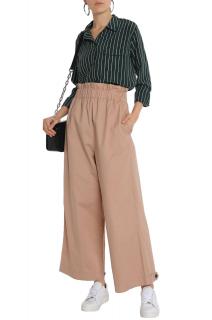 Ganni Sand Cotton Wide Leg High Waist Pants