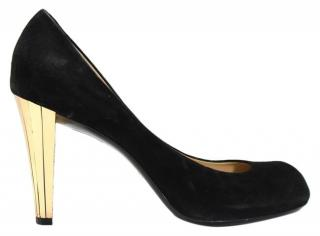 Gucci Delphine black suede gold heel pumps