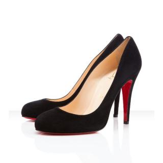 Christian Louboutin black suede Ron Ron round toe classic pumps