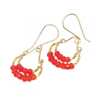 Debbie Fisher Carnelian & Gold vermeil double hoop drop earrings