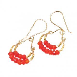 Debbie Fisher Carnelian & Gold vermeil double hoop drop earrings