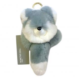 Yves Salomon Enfant Rabbit Fur Fox Key Ring